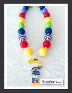 Our Rainbow Bright Inspired Bubblegum Bead Necklace with yellow, red, blue and green beads and featuring a rhinestone rainbow bright pendant is just $18 including shipping (untracked) anywhere in Australia. More designs available at www.bubblegumroyal.com