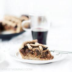 A slice of the tart with sauerkraut, wild mushrooms and dried plums. Wild Mushrooms, Stuffed Mushrooms, Dried Plums, Sauerkraut, Waffles, Bakery, Menu, Breakfast, Healthy