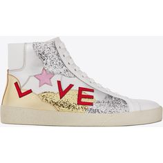 """Saint Laurent Signature Court Classic Sl/06 """"love"""" Mid-top Sneaker ($805) ❤ liked on Polyvore featuring shoes, sneakers, star sneakers, glitter trainers, yves saint laurent, glitter sneakers and star shoes"""