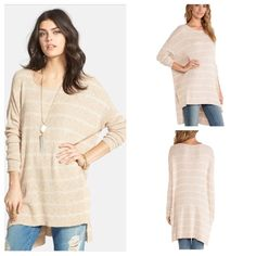 NWT Free People Hi Low Oversized Tunic Sweater M Free People Shipping News Hi Low Tunic Lightweight Sweater!!! Size Medium. New with tags! Color is ballet combo! Gorgeous! Looks great with jeans & cut off shorts!!! Free People Tops