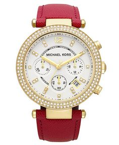 Michael Kors Watch, Women's Chronograph Parker Pink Leather Strap 39mm MK2297