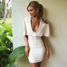 2016 Spring and Summer Solid White Deep V-neck Sexy Nightclub Dress Fashion Sexy Romantic Bright Haute Couture Women Fashion Rare Nice Beautiful Pretty Classy Vintage Style Girl Chic Stylish Inspiration Idea European Outfit Clothing Casual Street