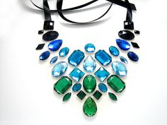 Green Blue and Black Floating Rhinestone by SparkleBeastDesign, $35.99