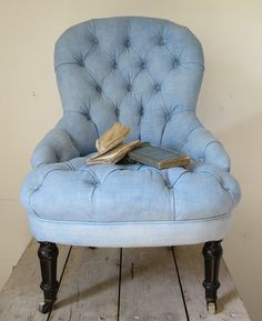 Small French Buttoned Chair - covered in old blue linen sheet www.appleyhoare.com