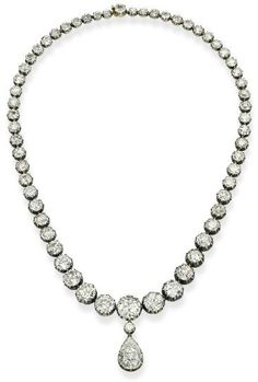 Antique Diamond Riviere Necklace Mounted In Silver And Gold c.1880's