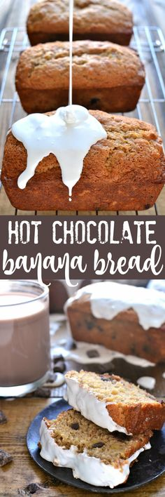 This Hot Chocolate Banana Bread takes your favorite breakfast treat to the next level! It's infused with rich chocolate flavor and topped with a sweet, gooey marshmallow drizzle. So you can drink your hot chocolate.and eat it, too! Chocolate Banana Bread, Chocolate Flavors, Chocolate Desserts, Hot Chocolate, Yummy Treats, Delicious Desserts, Dessert Recipes, Amish Recipes, Sweet Recipes