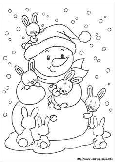 Free Printable Winter Coloring Pages - Free Printable Winter Coloring Pages, Winter Time Printable Coloring Pages Free Printable Winter Snowman Coloring Pages, Coloring Pages Winter, Coloring Book Pages, Printable Coloring Pages, Coloring Pages For Kids, Kids Coloring, Illustration Noel, Theme Noel, Christmas Embroidery