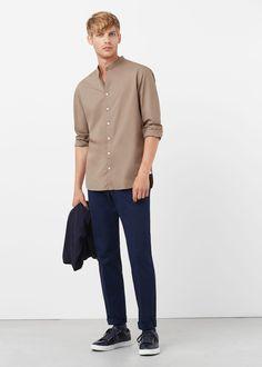 Camisa slim-fit cuello mao | MANGO MAN
