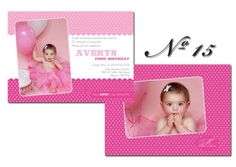 No 15 Little Girl's Birthday Invitation by modernmoments on Etsy, $1.50