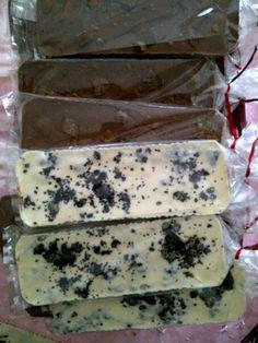 milk chocolate skor slabs. White chocolate Oreo slabs