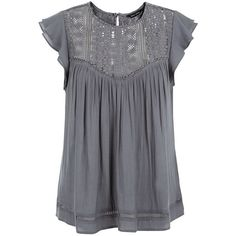 Dark Grey Ladder Lace Panel Ruffle Sleeve Top (£20) ❤ liked on Polyvore featuring tops, blouses, dark grey, ruffle sleeve blouse, flutter sleeve top, lace top, lacy tops and lace inset top
