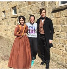 Jenna Coleman and Tom Hughes with a fan