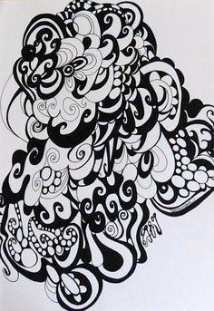 Black and white doodle Černobílá abstrakce. Zarámováno a ihned k pověšení. Technika: copy marker na papír. Rozměry: 235 x 325 mm Rám: Ikea Balení: bublinková folie a karton