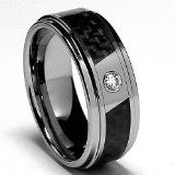 8mm Silver Tungsten Carbide .10ctw REAL DIAMOND Solitaire Beveled Edges Men's Ladies Unisex Ring Wedding Band with Black Carbon Fiber Inlay Shiny Comfort Fit Color:G-H Clarity:SI1-SI2: Jewelry: Amazon.com