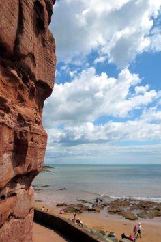 Weather worn red cliffs at Sidmouth   South Devon   England