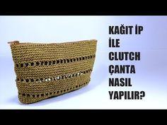Kağıt ip ile Clutch Çanta Part (How to make Clutch bag with paper thread? Handmade Bags, Handmade Wooden, Handmade Crafts, Diy And Crafts, Crochet Purses, Crochet Bags, Knit Crochet, Knitting Patterns, Crochet Patterns