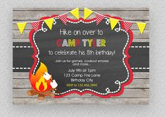 Camping invitation Camping party invitation  by TheTrendyButterfly