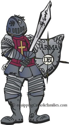Put on the Armor of God! drawing by 14 year old Kelly. Equipping Catholic Families