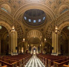 "Cathedral Basilica of Sts. Peter and Paul, Philadelphia.  One of my favorite places in Philly.  The rotunda inscription above the tabernacle reads ""You are Peter, and upon this rock, I will build my Church.""  (Matt 16:18). A note to visitors: the Basilica has tours! But please keep your voice down. The Basilica is not a museum, but an active Catholic church. People still go there to pray. Jesus is also Truly Present (you may not believe it, but Catholics do. Please respect that)."