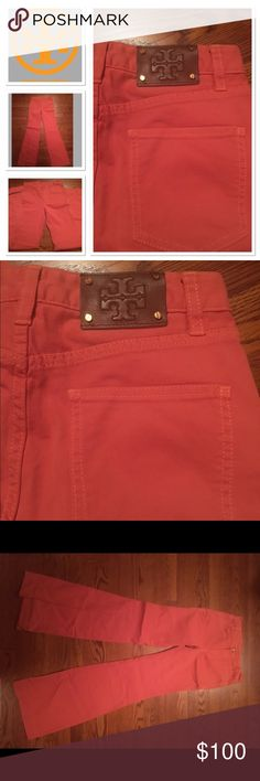 Tory Burch salmon colored jeans Very flattering Tory Burch jeans in a beautiful summer salmon. They are high rise flares Tory Burch Jeans Flare & Wide Leg
