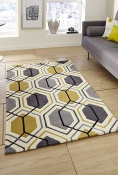 Modern Rugs in Soft Acrylic. Modern rugs UK, Beautiful Modern Rugs in the lastest designs and colours at Discount Prices. Price Match Promise plus discount. Guaranteed lowest prices with Free UK Delivery on all our Modern Acrylic Rugs Brown Furniture, Furniture Styles, Home Furniture, Grey And Yellow Living Room, Grey Yellow, Yellow Rugs, Yellow Walls, Living Room Furniture Arrangement, Living Room Decor