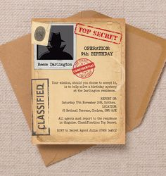 Personalised Spy Mission / Secret Agent Party Invitation Cards and Envelopes Spy Birthday Parties, Spy Party, Birthday Party Invitations, Nerf Party, Escape Room, Carmen San Diego, Secret Agent Party, Detective Party, Family Party Games