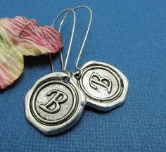 Personalized initial earrings monogram antique by 4Everinstyle