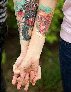 Hearts & Roses couple tattoos
