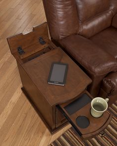 laflorn chair side end table with power outlets & pull-out shelf