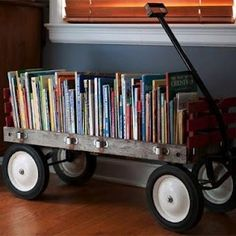 Bookshelve out of a old wagon for kids room