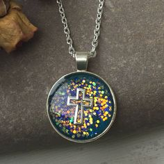 Silver Cross Set in Resin, Blue Sparkly Pendant, Gift for Her, First Holy Communion, Confirmation, Religious Gift, Symbol of Faith, Crucafix by nimmysjewellery on Etsy
