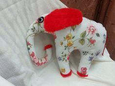 Elephant Pillow, organic cotton and red, soft fur modern decor nursery.