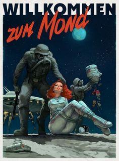 Nazi Moon poster by Waldemar Kazak Science Fiction Kunst, Arte Robot, Robot Art, Sucker Punch, Jamie Chung, Retro Futuristic, Creative Illustration, Moon Illustration, Pulp Art