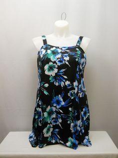 PLUS SIZE 22 Women 1PC Flare Swimdress SWIM365 Black Floral Adjustable Straps #SWIM365 #Swimdress