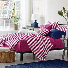 Channel Stripe bedding in Raspberry, Classic Percale bedding in White, Raspberry & Blue Tide