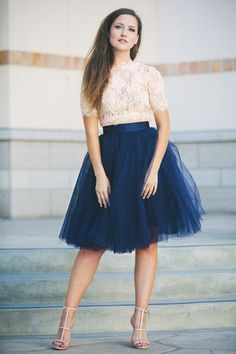 I could easily create a look similar to this with the lace jacket from my wedding. I would want a longer skirt though.