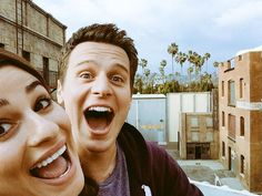 Lea Michele and Jonathan Groff at the Glee Goodbye carnival at the Paramount lot.