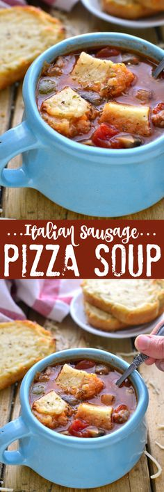 Italian Sausage Pizza Soup has all the flavors of pizza in a hearty, delicious, comforting bowl of soup!