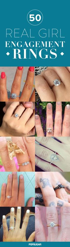 If you're waiting for your significant other to pop the question — or maybe you just like daydreaming about that distant day in the future — girl, do we have some inspiration for you. We've searched Instagram for the most darling, jaw-dropping, cool-girl engagement rings from real ladies who recently had their beloved #putaringonit.
