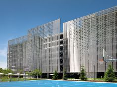 Samsung Headquarters Parking Facade, NBBJ Design, GKD Metal Fabric, Omega 1520, Photography Rien van Rijthoven
