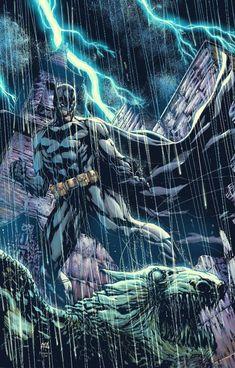 Batman on Gargoyle  art by Ace Continuado colored by Raymund Lee #AceContinuado #RaymundLee #Batman #BruceWayne #TheDarkKnight #Gotham #JL #JusticeLeague