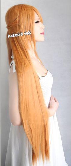 Sword Art Online Asuna Yuuki pre styled orange 100cm long straight Cosplay Wig with braid and bangs lady wig on Etsy, $43.06