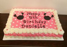 Minnie Mouse sheet cake with buttercream rosettes by Jillee's Goodees