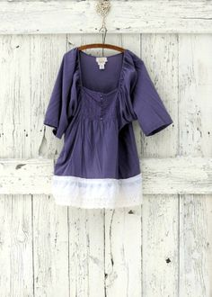 Radiant Orchid Tunic Top upcycled peasant blouse by wearlovenow, $38.00  #radiant orchid blouse, #upcycled boho tunic
