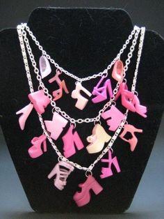 Pink Barbie Shoe Chandelier Necklace
