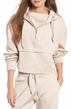 satin crop hoodie by IVY PARK. Taking a slouchy crop hoodie to a luxe level, IVY PARK combines soft cotton jersey with lustrous, supple satin. Style Name: Ivy Park Satin Crop Hoodie. Style Number: Available in stores. Crop Top Hoodie, Cropped Hoodie, Satin Crop Top, Teen Fashion, Fashion Outfits, Moda Fitness, Sporty Outfits, Fitness Fashion, Lounge Wear