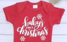 Christmas Onesie/baby's first christmas/Christmas Pajamas/Baby Bodysuit/Holiday Clothes for Baby/ Red Onesie by sunnyvilledesigns on Etsy https://www.etsy.com/listing/569828881/christmas-onesiebabys-first
