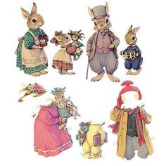 Easter bunny paper doll family.