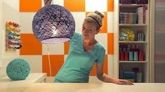how to make yarn ball/ yarn lamp shade - YouTube