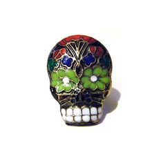 Day+of+the+Dead+Black+Skull+Pin+Gothic+Sugar+by+tempusfugit,+$14.99